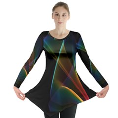 Abstract Rainbow Lily, Colorful Mystical Flower  Long Sleeve Tunic  by DianeClancy