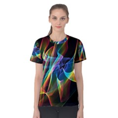 Aurora Ribbons, Abstract Rainbow Veils  Women s Cotton Tee by DianeClancy