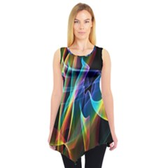 Aurora Ribbons, Abstract Rainbow Veils  Sleeveless Tunic by DianeClancy