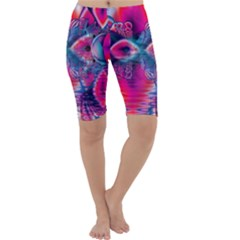 Cosmic Heart Of Fire, Abstract Crystal Palace Cropped Leggings by DianeClancy