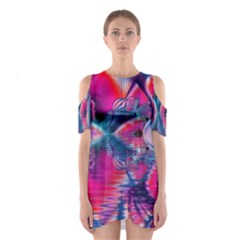 Cosmic Heart Of Fire, Abstract Crystal Palace Cutout Shoulder Dress by DianeClancy