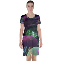 Creation Of The Rainbow Galaxy, Abstract Short Sleeve Nightdress by DianeClancy