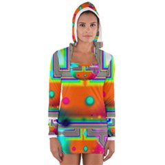 Crossroads Of Awakening, Abstract Rainbow Doorway  Women s Long Sleeve Hooded T Shirt by DianeClancy