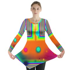 Crossroads Of Awakening, Abstract Rainbow Doorway  Long Sleeve Tunic  by DianeClancy
