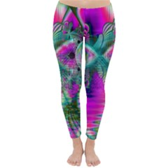 Crystal Flower Garden, Abstract Teal Violet Winter Leggings  by DianeClancy