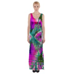 Crystal Flower Garden, Abstract Teal Violet Maxi Thigh Split Dress by DianeClancy