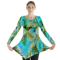 Crystal Gold Peacock, Abstract Mystical Lake Long Sleeve Tunic  by DianeClancy