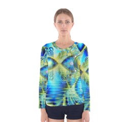 Crystal Lime Turquoise Heart Of Love, Abstract Women s Long Sleeve Tee by DianeClancy