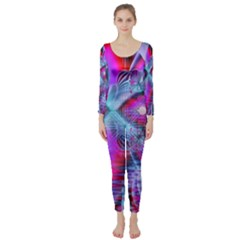Crystal Northern Lights Palace, Abstract Ice  Long Sleeve Catsuit by DianeClancy