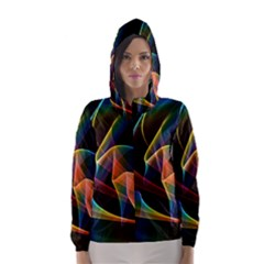 Crystal Rainbow, Abstract Winds Of Love  Hooded Wind Breaker (women) by DianeClancy