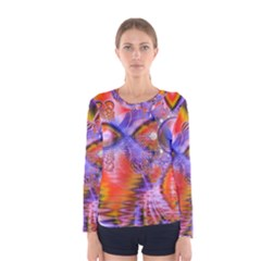 Crystal Star Dance, Abstract Purple Orange Women s Long Sleeve Tee by DianeClancy