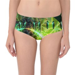 Dawn Of Time, Abstract Lime & Gold Emerge Mid-waist Bikini Bottoms by DianeClancy
