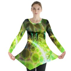 Dawn Of Time, Abstract Lime & Gold Emerge Long Sleeve Tunic  by DianeClancy