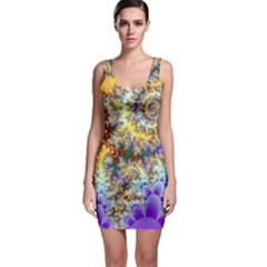 Desert Winds, Abstract Gold Purple Cactus  Sleeveless Bodycon Dress by DianeClancy