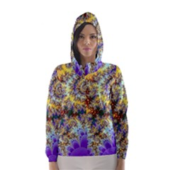 Desert Winds, Abstract Gold Purple Cactus  Hooded Wind Breaker (women) by DianeClancy