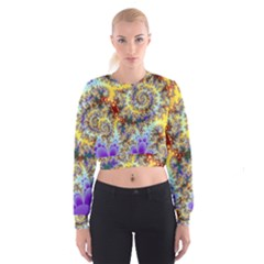 Desert Winds, Abstract Gold Purple Cactus  Women s Cropped Sweatshirt by DianeClancy