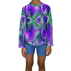 Evening Crystal Primrose, Abstract Night Flowers Kid s Long Sleeve Swimwear by DianeClancy