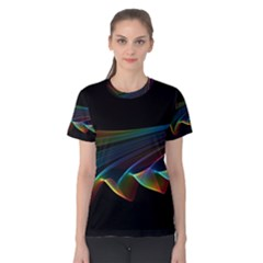 Flowing Fabric Of Rainbow Light, Abstract  Women s Cotton Tee by DianeClancy