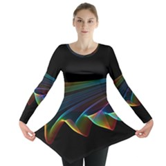 Flowing Fabric Of Rainbow Light, Abstract  Long Sleeve Tunic  by DianeClancy
