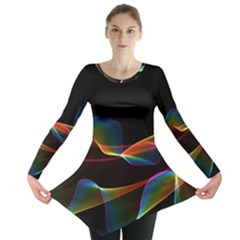 Fluted Cosmic Rafluted Cosmic Rainbow, Abstract Winds Long Sleeve Tunic  by DianeClancy