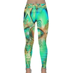 Golden Teal Peacock, Abstract Copper Crystal Yoga Leggings by DianeClancy