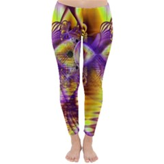 Golden Violet Crystal Palace, Abstract Cosmic Explosion Winter Leggings  by DianeClancy