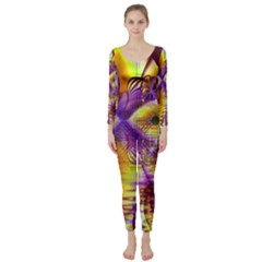 Golden Violet Crystal Palace, Abstract Cosmic Explosion Long Sleeve Catsuit by DianeClancy