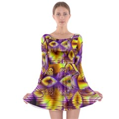 Golden Violet Crystal Palace, Abstract Cosmic Explosion Long Sleeve Skater Dress by DianeClancy