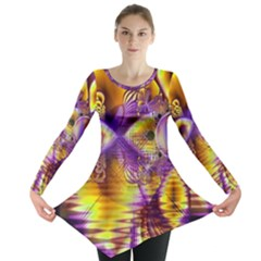 Golden Violet Crystal Palace, Abstract Cosmic Explosion Long Sleeve Tunic  by DianeClancy