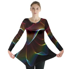 Imagine, Through The Abstract Rainbow Veil Long Sleeve Tunic  by DianeClancy