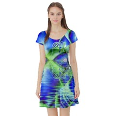 Irish Dream Under Abstract Cobalt Blue Skies Short Sleeve Skater Dress by DianeClancy