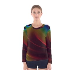 Liquid Rainbow, Abstract Wave Of Cosmic Energy  Women s Long Sleeve Tee by DianeClancy