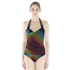 Liquid Rainbow, Abstract Wave Of Cosmic Energy  Women s Halter One Piece Swimsuit by DianeClancy