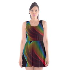 Liquid Rainbow, Abstract Wave Of Cosmic Energy  Scoop Neck Skater Dress by DianeClancy