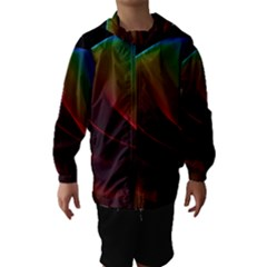 Liquid Rainbow, Abstract Wave Of Cosmic Energy  Hooded Wind Breaker (kids) by DianeClancy