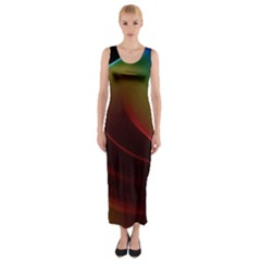 Liquid Rainbow, Abstract Wave Of Cosmic Energy  Fitted Maxi Dress by DianeClancy