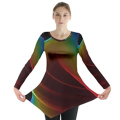 Liquid Rainbow, Abstract Wave Of Cosmic Energy  Long Sleeve Tunic  by DianeClancy