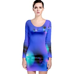 Love In Action, Pink, Purple, Blue Heartbeat 10000x7500 Long Sleeve Bodycon Dress by DianeClancy