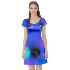 Love In Action, Pink, Purple, Blue Heartbeat 10000x7500 Short Sleeve Skater Dress by DianeClancy