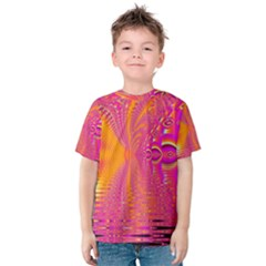 Magenta Boardwalk Carnival, Abstract Ocean Shimmer Kid s Cotton Tee by DianeClancy