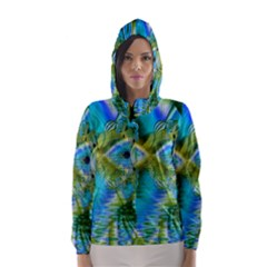 Mystical Spring, Abstract Crystal Renewal Hooded Wind Breaker (women) by DianeClancy
