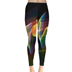 Northern Lights, Abstract Rainbow Aurora Leggings  by DianeClancy
