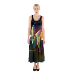 Northern Lights, Abstract Rainbow Aurora Full Print Maxi Dress by DianeClancy