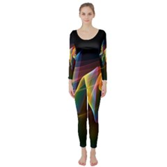 Northern Lights, Abstract Rainbow Aurora Long Sleeve Catsuit by DianeClancy