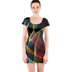 Peacock Symphony, Abstract Rainbow Music Short Sleeve Bodycon Dress by DianeClancy
