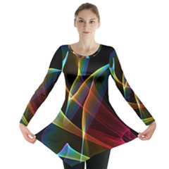 Peacock Symphony, Abstract Rainbow Music Long Sleeve Tunic  by DianeClancy