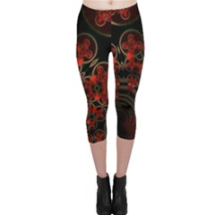 Phenomenon, Orange Gold Cosmic Explosion Capri Leggings  by DianeClancy