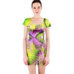 Raspberry Lime Mystical Magical Lake, Abstract  Short Sleeve Bodycon Dress by DianeClancy