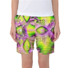 Raspberry Lime Mystical Magical Lake, Abstract  Women s Basketball Shorts by DianeClancy