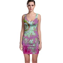 Raspberry Lime Surprise, Abstract Sea Garden  Sleeveless Bodycon Dress by DianeClancy